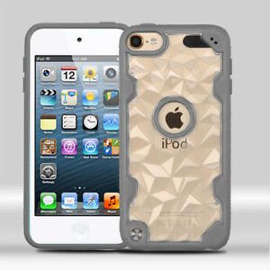 For iPod Touch 5th 6th 7th Gen - TPU Rubber Gummy Clear Case Cover Polygon Armor