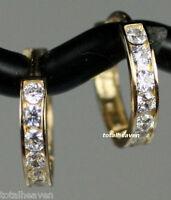 "Huggies Hoop Earrings Solid 14K Yellow Gold 0.53"" AAA D-Flawless CZ SPARKLING"