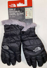 NWT THE NORTH FACE GIRL'S MOSSBUD SWIRL GLOVE TNF BLACK/METALLIC SILVER LARGE