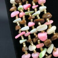 Vintage Necklace 5 STAND Real Brown Tigers Eye & Pink Rose Stone & Glass Beads