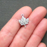 12 Maple Leaf Charms Antique Silver Tone 2 Sided - SC2324