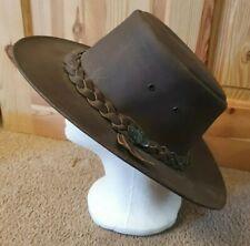"The Australian Bush Statesman Leather Hat 22"" Diameter Approx"