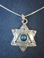 """Artisan Sterling Silver Star of David Blue Agate Pendant Necklace 18"""" 925 Chain"""