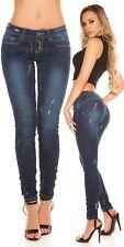 Koucla Push Up Jeans Skinny Damen Jeanshose mit Glitzer