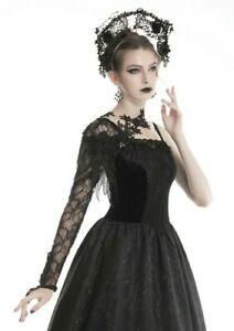 Dark in Love Glove/ shoulder piece in floral mesh Classic Gothic style AGL006