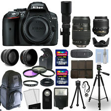 Nikon D5300 SLR Camera Body + 5 Lens 18-55mm VR + 70-300mm + 500mm + 64gb Bundle