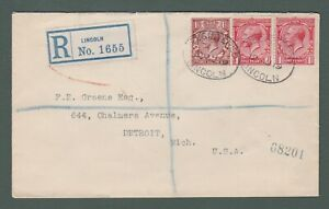 1919 GB - GV registered cover with 3½d franking from Lincoln to USA (P769)