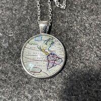 "Silver Dome Glass Cabochon Pendant World Map Earth Globe 20"" Chain Necklace"