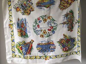 Vintage cotton Cornwall souvenir Small Tablecloth 87cm x 78cm