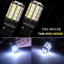2x Pure White 7440 7441 5050 36-SMD LED Backup Reverse Tail Brake Light Bulbs