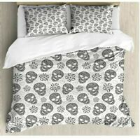 HALLOWEEN FLORAL SKULL DUVET COVER 100% COTTON DOUBLE KING SIZE BEDDING SETS