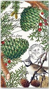 MDW-Two (2) Hostess Napkins, Spruce, Pinecones, Christmas, for Paper Crafts