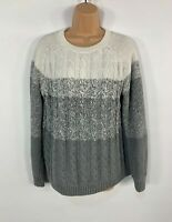 WOMENS WOOLOVERS WHITE GREY CASUAL KNITTED JUMPER SWEATER PULL OVER SIZE L LARGE