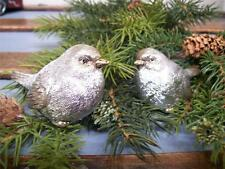 raz nwt set 2 silver with gold accent snow bird christmas figurine decorations