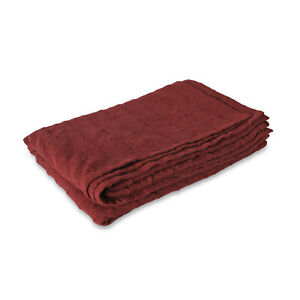 Burgundy Checker Pattern Woven Throw Blanket Super Soft Luxury Bedroom Cotton