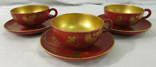 Lot of 3 Vintage Japanese Red and Gold Lacquerware Wooden Tea Cups and Saucers