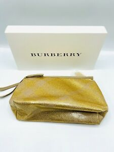 Authentic Burberry Gold Plaid Makeup Bag Pouch Brand New In Box