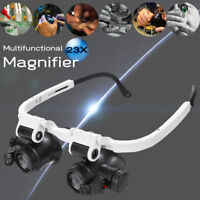 23X Magnifying Magnifier Eye Glass Jeweller Watch Repair Loupe With LED Light