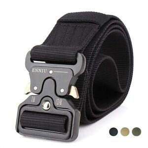 Tactical Belt with Quick-Release Metal Buckle Military Style Riggers Web Belt