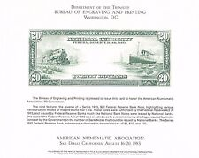 BEP Souvenir Card B61 ANA '83 $20 FR Bank Note 1915 Transportation Mint