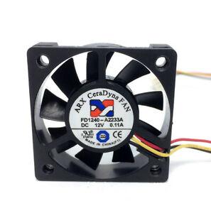 ARX FD1240-A2233A 12V 0.11A 1.32W 4010 4CM 3 pin speed mute cooling fan