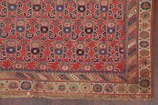 Pre-1900 Antique All-Over Vegetable Dye Kazak Caucasian Russian Square Rug 4'x5'