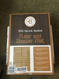 Bambusi Luxury Bamboo Bath Mat - Non-Slip Shower Floor Mat for Bathroom