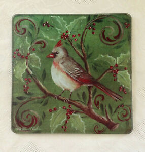 "Tempered Glass Trivet Female Cardinal Bird Berries Green 8"" Signed by Artist"