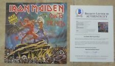 """Iron Maiden Run To Hills X5 Band Signed 12"""" LP Single Display BECKETT Certified"""