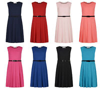 Girls Skater Dress Kids Party Dresses Belted Age 7 8 9 10 11 12 13 Years