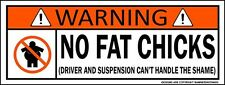 No Fat Chicks Funny JDM Sticker Fit Civic CRX Accord