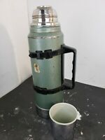 Vintage Stanley Aladdin Thermos Green Metal 1 Quart A-944C With Plastic Holder
