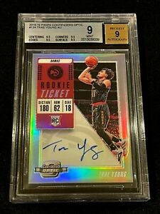 TRAE YOUNG 2018 CONTENDERS OPTIC #124 AUTOGRAPH AUTO ROOKIE RC BGS 9 HAWKS NBA