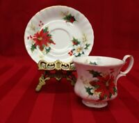 Royal Albert Demitasse Poinsetta  Bone China Tea Cup And Saucer Set