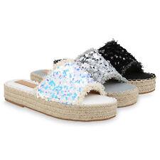 Damen Sandaletten Pantoletten Pailletten Plateau Sandalen Sommer 832932 Schuhe