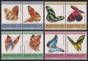 St. Lucia 1985 - Mi-Nr. 732-739 ** - MNH - Schmetterlinge / Butterflies