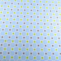 Cotton Fabric, Pale Blue, Lime Green, & Gray Geometric, Per 1/2 Yd