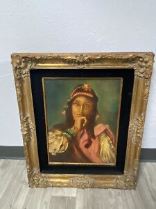 Vintage Indian Pocahontas Oil Painting By Dutch Master William Verdult