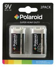 2 x Polaroid PP3 9v 6F22 Heavy Duty Batteries Mercury Free Battery Sealed Pack
