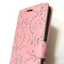 ZTE SEQUOIA / BLADE Z MAX - Card Wallet Pouch Case Cover Pink Glitter Butterfly