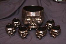 Williams Sonoma Halloween Ceramic Skull Punch Bowl & 6 Mugs Set Party Decor