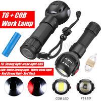 Rechargeable T6+COB LED Work Light Magnetic Torch Flashlight USB Lamp+18650 Batt