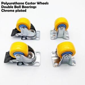 1.5'' yellow chrome plated PU Castor Wheels Non Marking,2 FIxed & 2 Swivel Brake