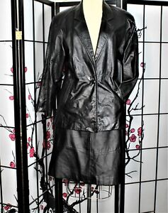 CASUAL CAREER LEATHER SKIRT SUIT BLACK 14