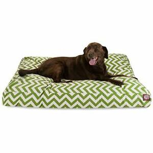 Sage Chevron Extra Large Rectangle Indoor Outdoor Pet Dog Bed With Removable ...