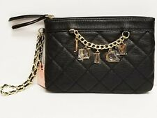 NWT Juicy Couture Black Quilted Charm & Chain Accent Wristlet Bag