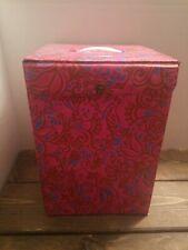 Vintage 60s Mod Flower Power Wig Hat Box Vinyl Case Pink Floral