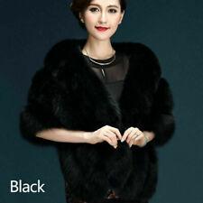 Women Faux Fur Shrug Shawl Bride Wedding Winter Furry Fluffy Warm Thicken