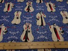 1 yard Camelot Disney Villains Cruella De Vil Fabric