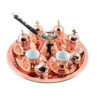 26 Pc Copper Turkish Greek Arabic Coffee Espresso Set with Pot Cups Saucers Tray